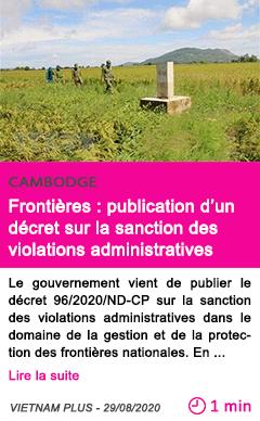Societe frontieres publication d un decret sur la sanction des violations administratives