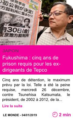 Societe fukushima cinq ans de prison requis pour les ex dirigeants de tepco page001
