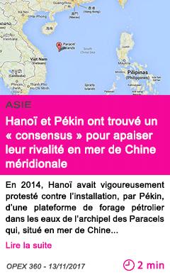 Societe hanoi et pekin ont trouve un consensus pour apaiser leur rivalite en mer de chine meridionale