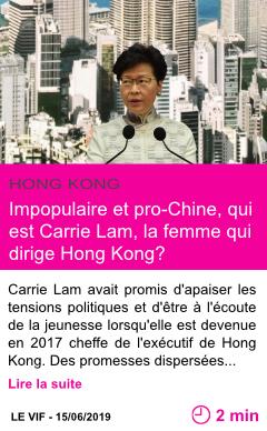 Societe impopulaire et pro chine qui est carrie lam la femme qui dirige hong kong page001