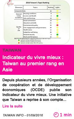 Societe indicateur du vivre mieux taiwan au premier rang en asie