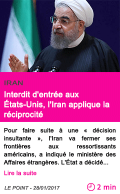 Societe interdit d entree aux etats unis l iran applique la reciprocite