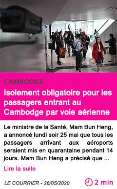 Societe isolement obligatoire pour les passagers entrant au cambodge par voie aerienne