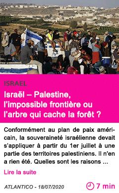 Societe israel palestine l impossible frontiere ou l arbre qui cache la foret