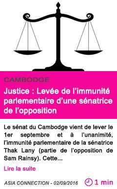 Societe justice levee de l immunite parlementaire d une senatrice de l opposition