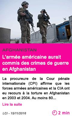 Societe l armee americaine aurait commis des crimes de guerre en afghanistan