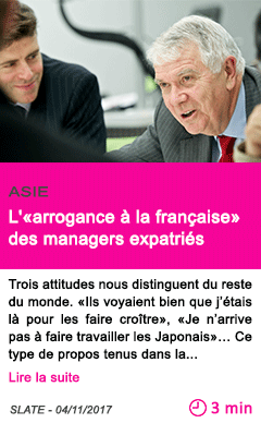 Societe l arrogance a la francaise des managers expatries