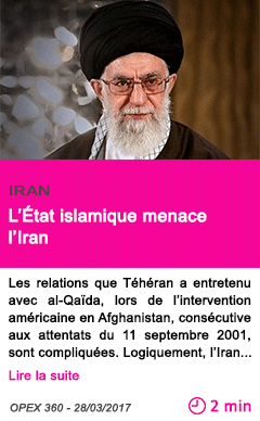Societe l etat islamique menace l iran