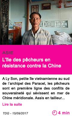 Societe l ile des pecheurs en resistance contre la chine