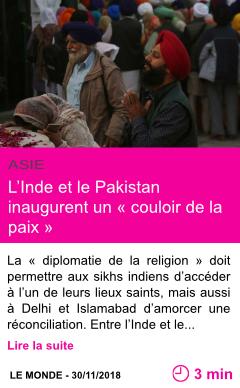 Societe l inde et le pakistan inaugurent un couloir de la paix page001