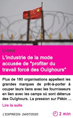 Societe l industrie de la mode accusee de profiter du travail force des ouighours
