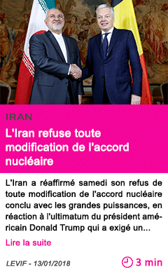 Societe l iran refuse toute modification de l accord nucleaire