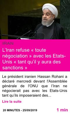 Societe l iran refuse toute negociation avec les etats unis tant qu il y aura des sanctions page001