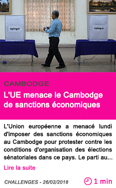 Societe l ue menace le cambodge de sanctions economiques