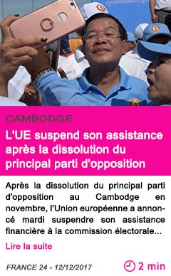 Societe l ue suspend son assistance apres la dissolution du principal parti d opposition 1