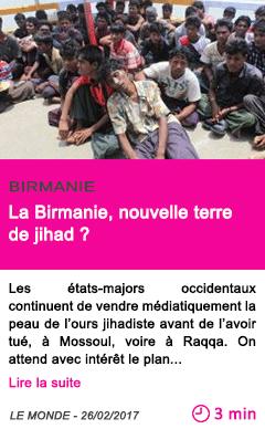Societe la birmanie nouvelle terre de jihad