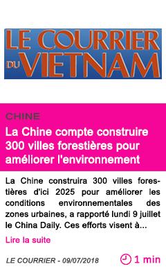 Societe la chine compte construire 300 villes forestieres pour ameliorer l environnement