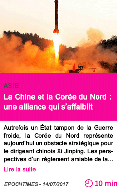 Societe la chine et la coree du nord une alliance qui s affaiblit