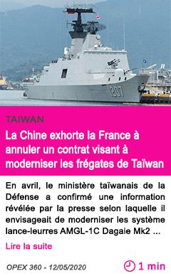 Societe la chine exhorte la france a annuler un contrat visant a moderniser les fregates de taiwan