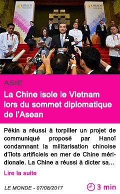 Societe la chine isole le vietnam lors du sommet diplomatique de l asean