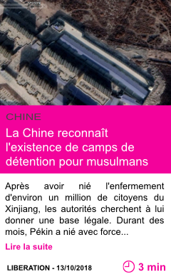 Societe la chine reconnait l existence de camps de detention pour musulmans page001