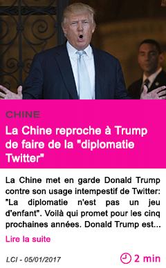 Societe la chine reproche a trump de faire de la diplomatie twitter