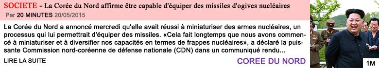 Societe la coree du nord affirme etre capable d equiper des missiles d ogives nucleaires