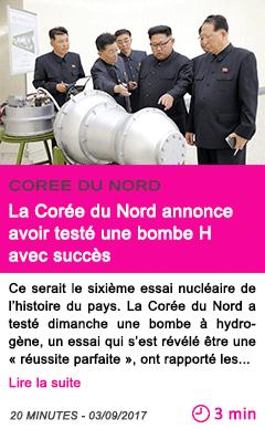 Societe la coree du nord annonce avoir teste une bombe h avec succes