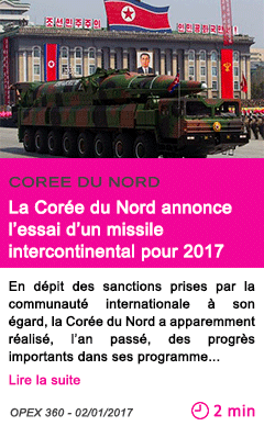 Societe la coree du nord annonce l essai d un missile intercontinental pour 2017