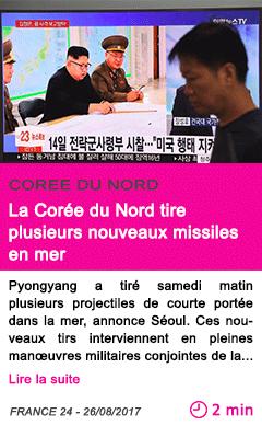 Societe la coree du nord tire plusieurs nouveaux missiles en mer