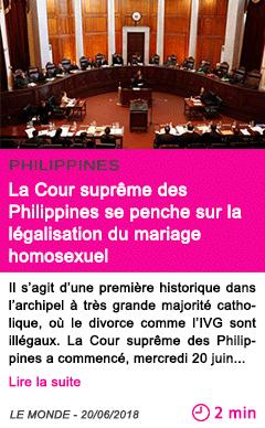Societe la cour supreme des philippines se penche sur la legalisation du mariage homosexuel