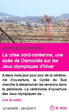 Societe la crise nord coreenne une epee de damocles sur les jeux olympiques d hiver