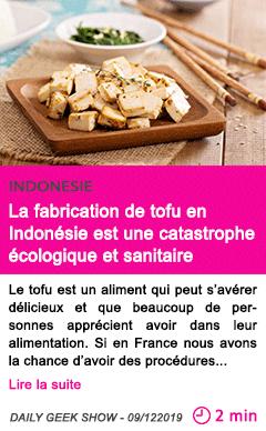 Societe la fabrication de tofu en indonesie est une catastrophe ecologique et sanitair