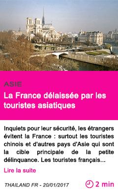Societe la france delaissee par les touristes asiatiques