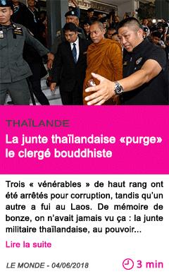 Societe la junte thailandaise purge le clerge bouddhiste