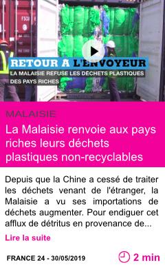 Societe la malaisie renvoie aux pays riches leurs dechets plastiques non recyclables page001
