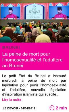 Societe la peine de mort pour l homosexualite et l adultere au brunei page001