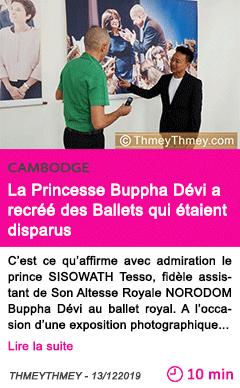 Societe la princesse buppha devi a recree des ballets qui etaient disparus