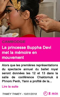 Societe la princesse buppha devi met la memoire en mouvement