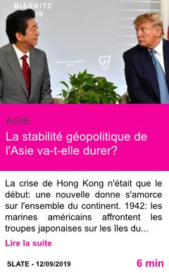 Societe la stabilite geopolitique de l asie va t elle durer page001