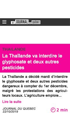 Societe la thailande va interdire le glyphosate et deux autres pesticides