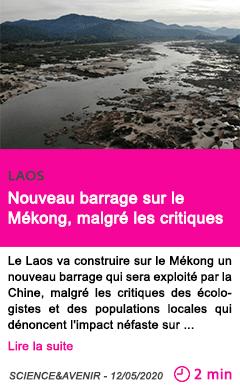 Societe laos nouveau barrage sur le mekong malgre les critiques