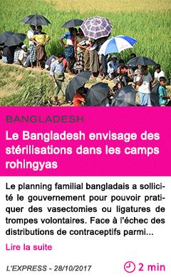 Societe le bangladesh envisage des sterilisations dans les camps rohingyas