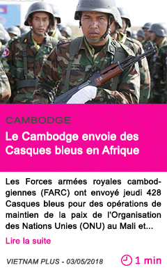 Societe le cambodge envoie des casques bleus en afrique