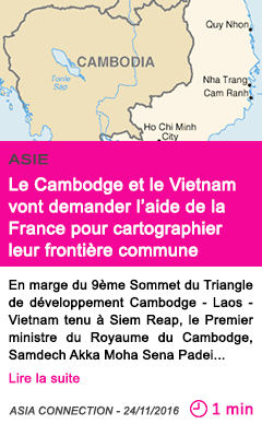 Societe le cambodge et le vietnam souhaitent l assistance technique de la france dans la cartographie