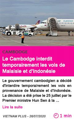 Societe le cambodge interdit temporairement les vols de malaisie et d indonesie