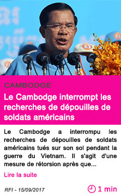 Societe le cambodge interrompt les recherches de depouilles de soldats americains