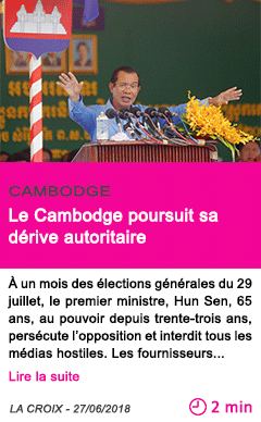 Societe le cambodge poursuit sa derive autoritaire