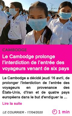 Societe le cambodge prolonge l interdiction de l entree des voyageurs venant de six pays