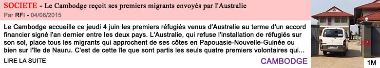 Societe le cambodge recoit ses premiers migrants envoyes par l australie